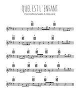 Téléchargez la partition pour saxophone en Mib de la musique noel-quel-est-l-enfant en PDF