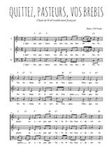 Téléchargez l'arrangement de la partition de Traditionnel-Quittez-pasteurs-vos-brebis en PDF à trois voix