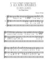 Téléchargez l'arrangement de la partition de Jean-Philippe-Rameau-La-danse-des-Sauvages en PDF pour trois voix d'hommes