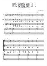 Téléchargez la partition de Une jeune fillette en PDF pour 3 voix SSA et piano