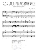 Téléchargez l'arrangement de la partition de chanson-francaise-rossignol-qui-vas-en-france en PDF à deux voix