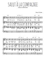 Téléchargez la partition de Salut à la compagnie en PDF pour 2 voix égales et piano