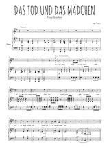 Téléchargez la partition de Das Tod und dans Mädchen en PDF pour Chant et piano