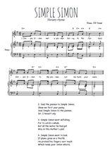 Téléchargez la partition de Simple Simon en PDF pour Chant et piano