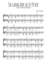 Téléchargez l'arrangement de la partition de allemagne-solang-der-alte-peter en PDF à deux voix