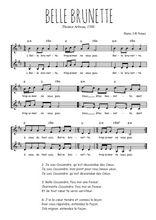 Téléchargez l'arrangement de la partition de Thoinot-Arbeau-Cassandre-Belle-Brunette en PDF à deux voix