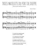 Téléchargez l'arrangement de la partition de Traditionnel-Trois-matelots-du-port-de-Dieppe en PDF à deux voix