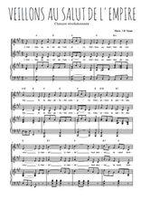 Téléchargez la partition de Veillons au salut de l'empire en PDF pour 2 voix égales et piano