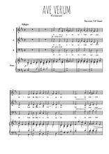 Téléchargez la partition de Ave Verum en PDF pour 3 voix SAB et piano