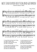 Téléchargez l'arrangement de la partition de chanson-allemande-wir-sind-durch-die-welt-gefahren en PDF à deux voix