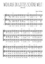 Téléchargez l'arrangement de la partition de chanson-allemande-wohlauf-in-gottes-schone-welt en PDF à trois voix