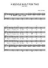 Téléchargez la partition de A bicycle built for two en PDF pour 4 voix SATB et piano