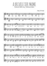 Téléchargez l'arrangement de la partition de yiddish-a-brivele-der-mame en PDF à deux voix