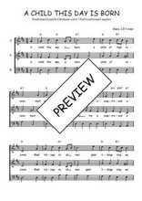 Téléchargez l'arrangement de la partition de Traditionnel-A-child-this-day-is-born en PDF à trois voix