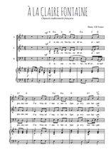 Téléchargez la partition de A la Claire Fontaine en PDF pour 3 voix SAB et piano