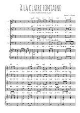 Téléchargez la partition de A la Claire Fontaine en PDF pour 4 voix SATB et piano