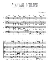 Téléchargez l'arrangement de la partition de a-la-claire-fontaine en PDF à quatre voix