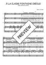 Téléchargez la partition de A la claire fontaine créole en PDF pour 3 voix SAB et piano