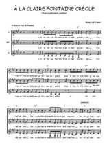 Téléchargez l'arrangement de la partition de martinique-a-la-claire-fontaine en PDF pour trois voix de femmes
