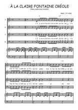 Téléchargez la partition de A la claire fontaine créole en PDF pour 4 voix SATB et piano