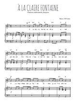 Téléchargez la partition de A la Claire Fontaine en PDF pour Chant et piano