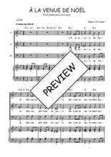 Téléchargez la partition de A la venue de Noël en PDF pour 3 voix SAB et piano
