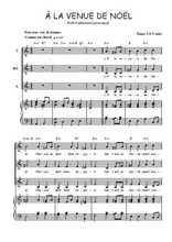 Téléchargez la partition de A la venue de Noël en PDF pour 3 voix SSA et piano