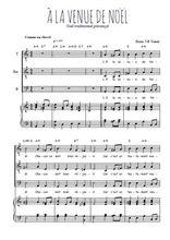 Téléchargez la partition de A la venue de Noël en PDF pour 3 voix TTB et piano