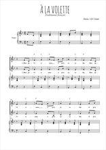 Téléchargez la partition de A la volette en PDF pour 2 voix égales et piano