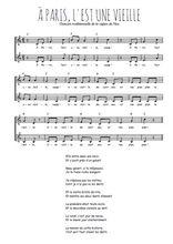 Téléchargez l'arrangement de la partition de Traditionnel-A-Paris-l-est-une-vieille en PDF à deux voix