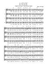 Téléchargez l'arrangement de la partition de Traditionnel-A-rovin- en PDF à quatre voix