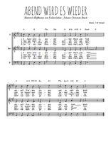 Téléchargez l'arrangement de la partition de Traditionnel-Abend-wird-es-wieder en PDF pour trois voix d'hommes