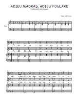Téléchargez la partition de Adieu madras, adieu foulard en PDF pour 2 voix égales et piano