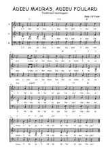 Téléchargez l'arrangement de la partition de Traditionnel-Adieu-madras-adieu-foulard en PDF à trois voix