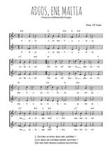 Téléchargez l'arrangement de la partition de Traditionnel-Adios-ene-Maitia en PDF à deux voix