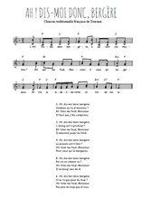 Téléchargez l'arrangement de la partition de Traditionnel-Ah-dis-moi-donc-bergere en PDF à deux voix