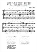 Téléchargez l'arrangement de la partition de Traditionnel-Ah-dis-moi-donc-bergere en PDF à trois voix