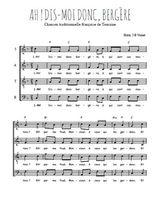 Téléchargez l'arrangement de la partition de Traditionnel-Ah-dis-moi-donc-bergere en PDF à quatre voix