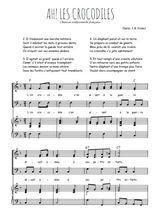 Téléchargez la partition de Ah! Les crocodiles en PDF pour 3 voix SAB et piano