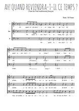 Téléchargez l'arrangement de la partition de Traditionnel-Ah!-quand-reviendra-t-il en PDF pour trois voix d'hommes