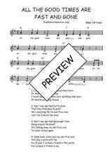 Téléchargez l'arrangement de la partition de Traditionnel-All-the-good-times-are-past-and-gone en PDF à deux voix