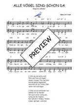 Téléchargez l'arrangement de la partition de Traditionnel-Alle-Vogel-sind-schon-da en PDF à deux voix