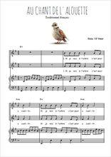 Téléchargez la partition de Au chant de l'alouette en PDF pour 2 voix égales et piano