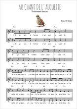 Téléchargez l'arrangement de la partition de au-chant-de-l-alouette en PDF à deux voix