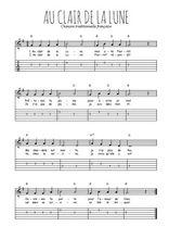 Téléchargez la tablature de la musique comptine-au-clair-de-la-lune en PDF