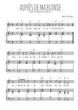 Téléchargez la partition de Auprès de ma blonde en PDF pour Chant et piano