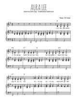 Téléchargez la partition de Aura Lee en PDF pour 2 voix égales et piano