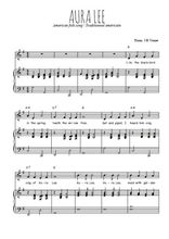 Téléchargez la partition de Aura Lee en PDF pour Chant et piano