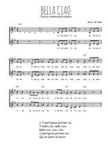Téléchargez l'arrangement de la partition de italie-bella-ciao en PDF à deux voix