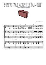 Téléchargez la partition de Bon voyage Monsieur Dumollet en PDF pour 3 voix SAB et piano
